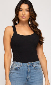 There She Goes Sleeveless Wide Strap Square Neck Bodysuit Top