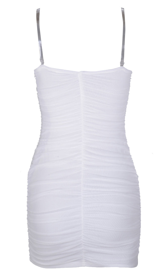 Time To Get Down White Sleeveless Mesh Clear Spaghetti Strap Ruched Bodycon Mini Dress - 3 Colors Available