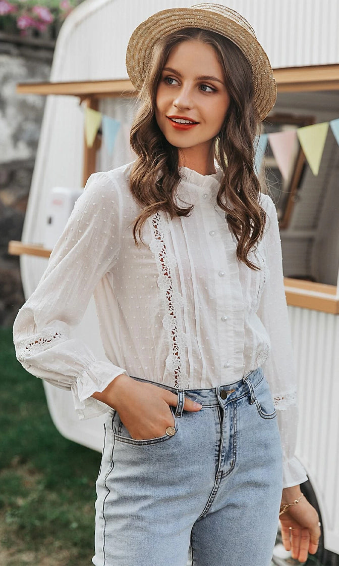 Newfound Love White Dot Pattern Sheer Lace Long Sleeve Ruffle Button Front Blouse Top