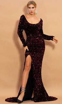 All About Us Burgundy Sequin Long Sleeve Wide Scoop Neck Side Slit Mermaid Maxi Dress