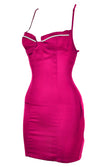 Forever In Your Dreams Hot Pink Satin Sleeveless Spaghetti Strap Backless Cross Strap Rhinestone Bodycon Mini Dress - 2 Colors Available