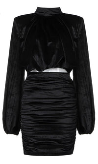 Too Mysterious Black Long Lantern Sleeve Mock Neck Crop Top Ruched Bodycon Two Piece Mini Dress
