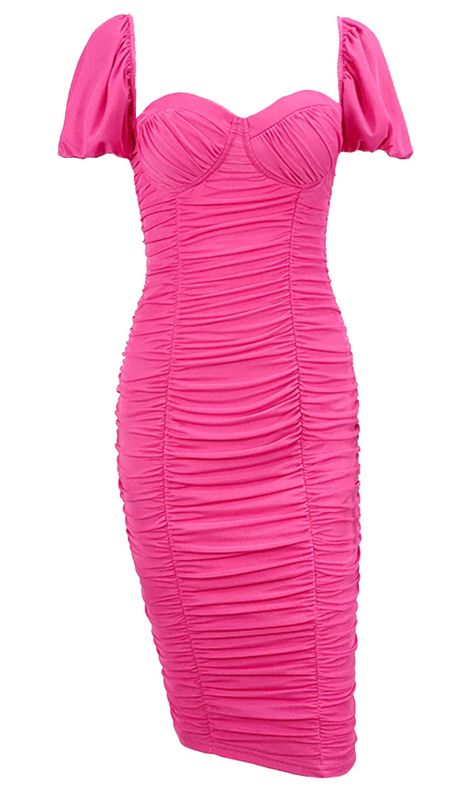 Passionate Embrace Short Sleeve V Neck Ruched Bodycon Midi Dress - 2 Colors Available