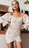 Hearts Desire Beige Floral Pattern Long Flare Sleeve Off The Shoulder V Neck Smocked Ruched Bodycon Casual Mini Dress