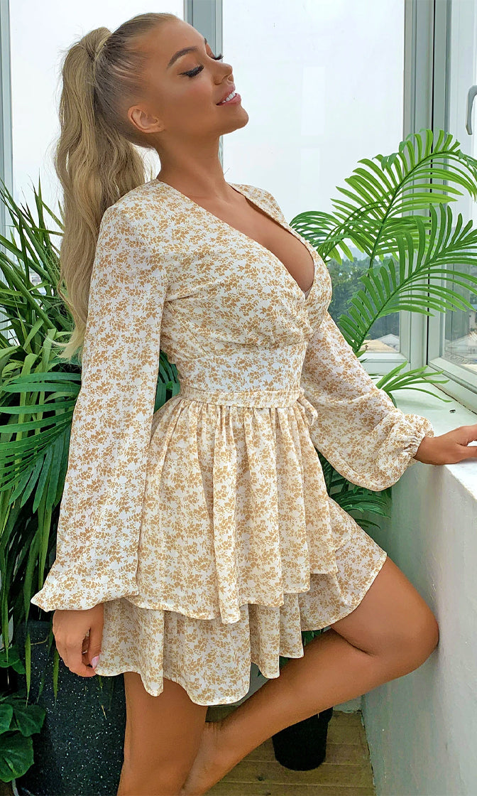 LA Sensation White Yellow Floral Pattern Long Puff Sleeve Cross Wrap V Neck Ruffle Flare A Line Casual Mini Dress