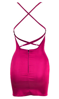 Forever In Your Dreams Hot Pink Satin Sleeveless Spaghetti Strap Backless Cross Strap Rhinestone Bodycon Mini Dress