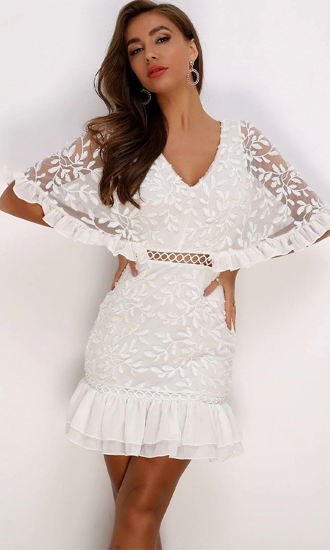 Spread The Love White Sheer Mesh Lace Elbow Sleeve Ruffle V Neck Cut Out Bodycon Mini Dress