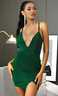 Greensleeves Green Sparkle Lurex Spaghetti Strap Plunge V Neck Slit Bodycon Mini Dress