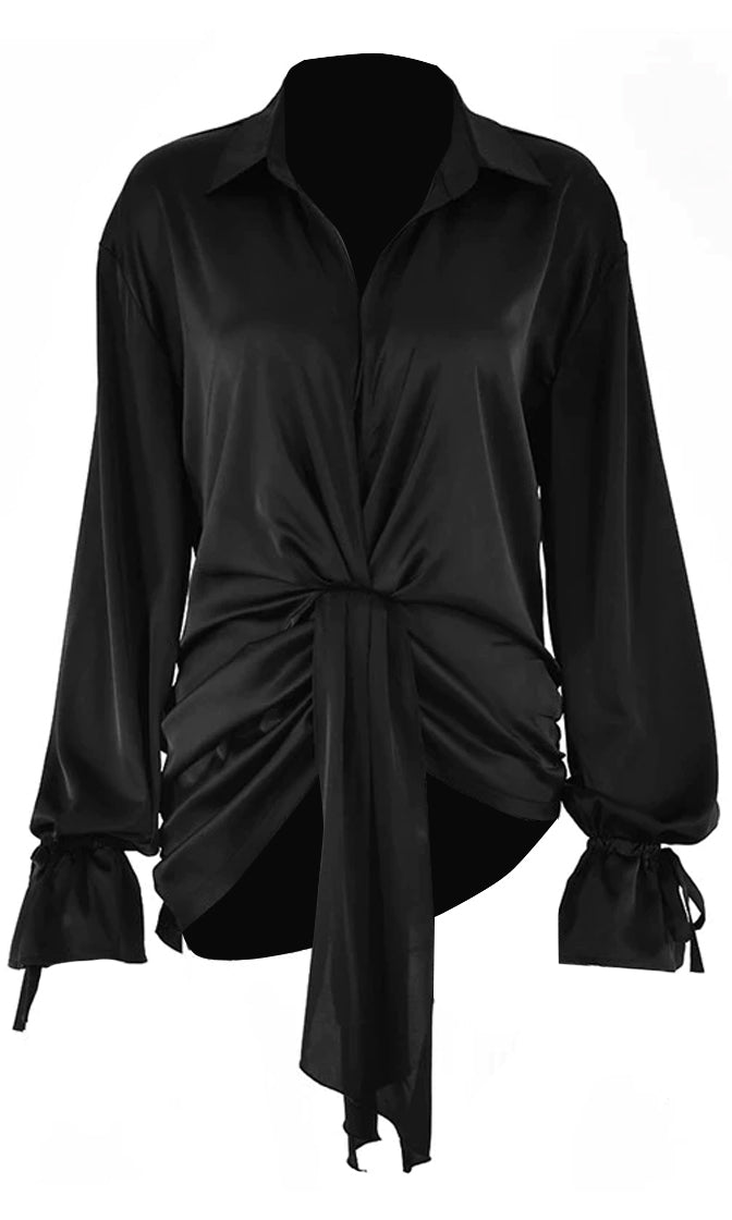 Secret Ideas Black Long Sleeve Plunge V Neck Collar Drape Twist Blouse Top