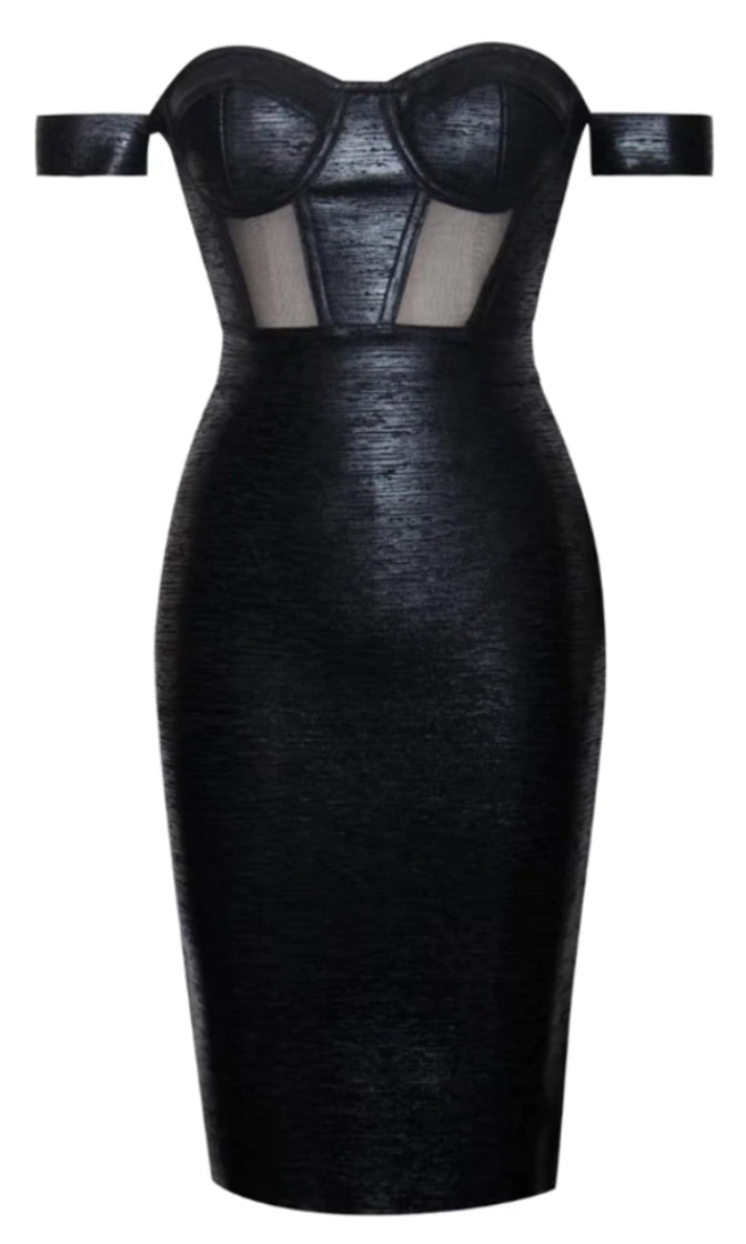 Fast Company Off The Shoulder Bustier Sheer Mesh Metallic Bodycon Bandage Midi Dress