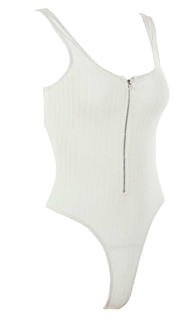 Let's Get Lost Ribbed Sleeveless Scoop Neck Front Zip Bodysuit Top - 3 Colors Available