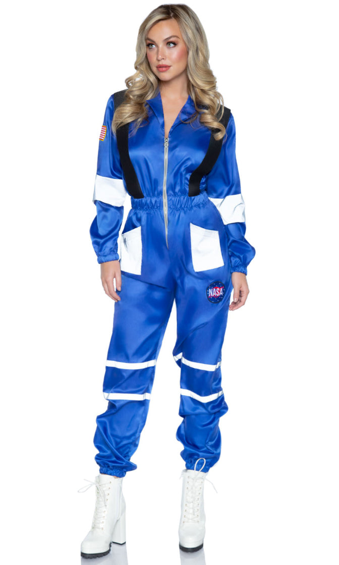 Space Race Blue Long Sleeve Zip Front Elastic Waist Jumpsuit Halloween Costume