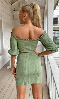 She's Spectacular Green Short Puff Sleeve Off The Shoulder Ruffle V Neck Crop Top Bodycon Casual Two Piece Mini Dress