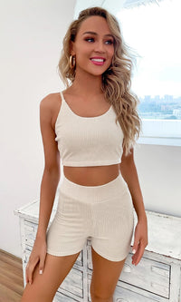 Ready To Kick Back Beige Ribbed Long Sleeve Open Cardigan Spaghetti Strap Crop Top High Waist Short Three Piece Romper Set