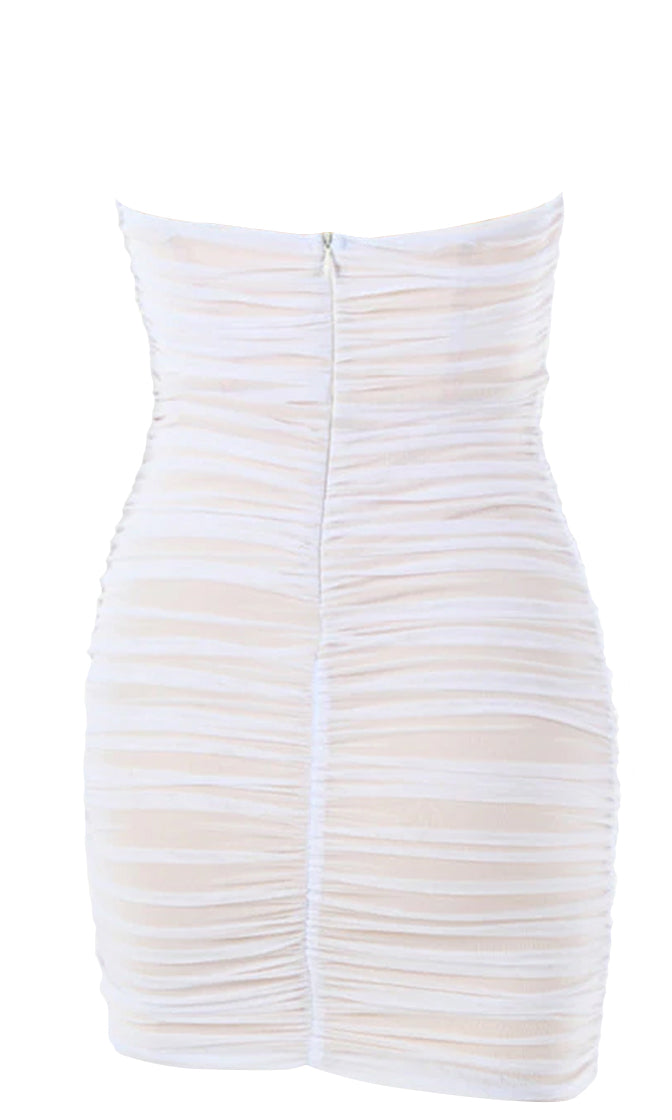 Feeling It White Sheer Mesh Ruched Strapless V Neck Bodycon Mini Dress