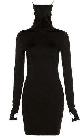 If You Only Knew Long Sleeve Off The Shoulder V Neck Ruched Bodycon Mini Dress