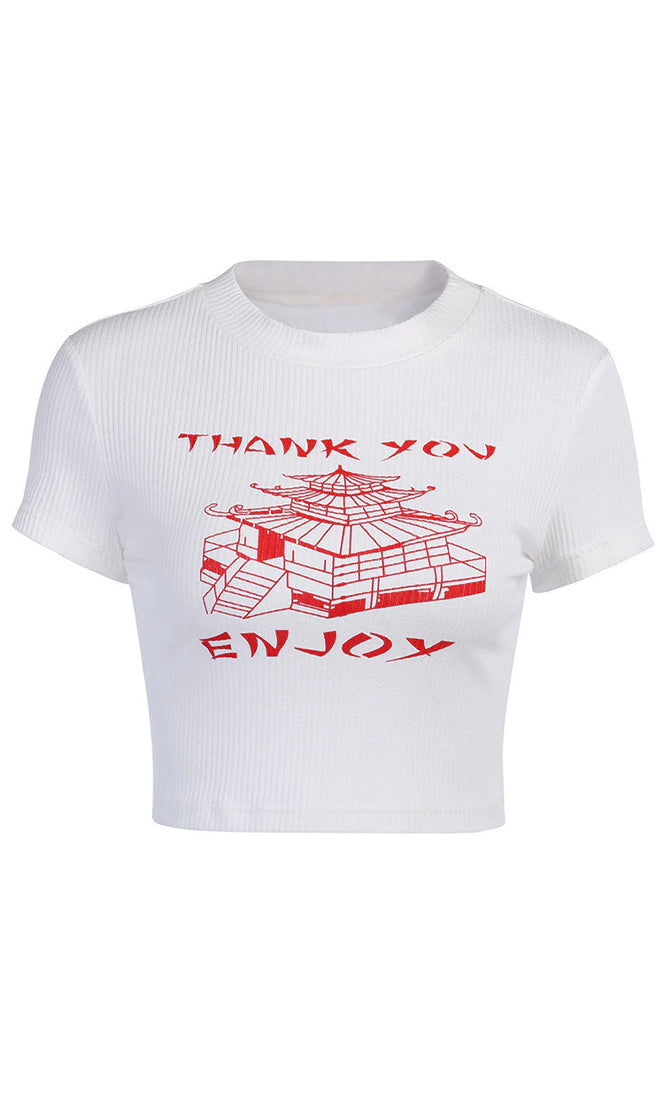 Sweet Not Sour White Ribbed Short Sleeve Crew Neck Thank You Enjoy Asian Pagoda Graphic Tee Shirt Crop Top