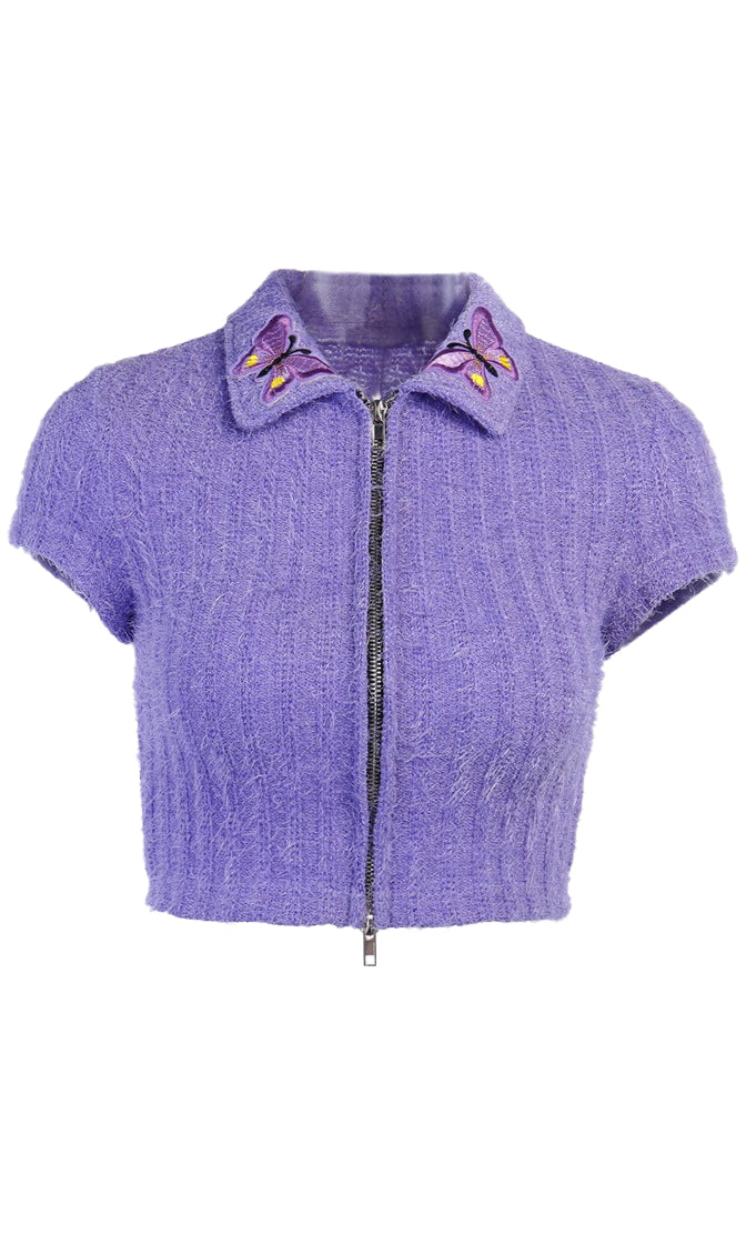 Let It Fly Purple Butterfly Embroidery Short Sleeve Rib Knit Double Zip Cardigan Crop Sweater