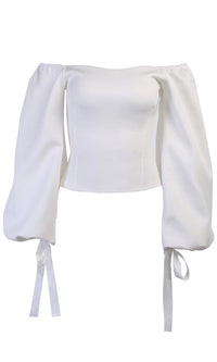 Imagine Our Future White Long Lantern Sleeve Off The Should Blouse Top