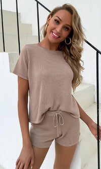Lounging Around Knit Mocha Brown Sheer Two Piece Short Sleeve Tee Shirt Drawstring Shorts Lounge Romper Set