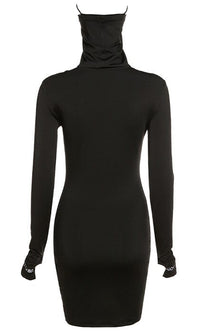 From Top To Bottom Black Long Sleeve Thumb Hole High Neck Face Mask Bodycon Mini Dress