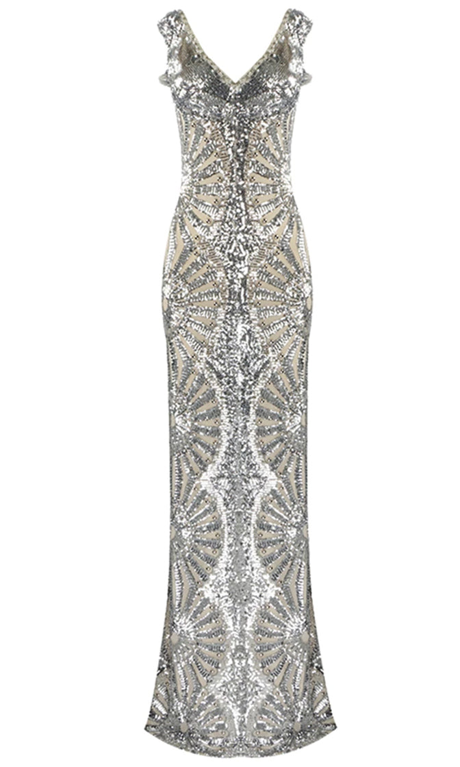 Dressed To The Nines Silver Sequin Geometric Pattern Cut Out Sleeveless V Neck Bodycon Maxi Dress