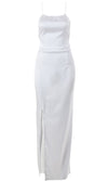 Private Limo Satin Sleeveless Spaghetti Strap Backless Halter Side Slit Bodycon Maxi Dress