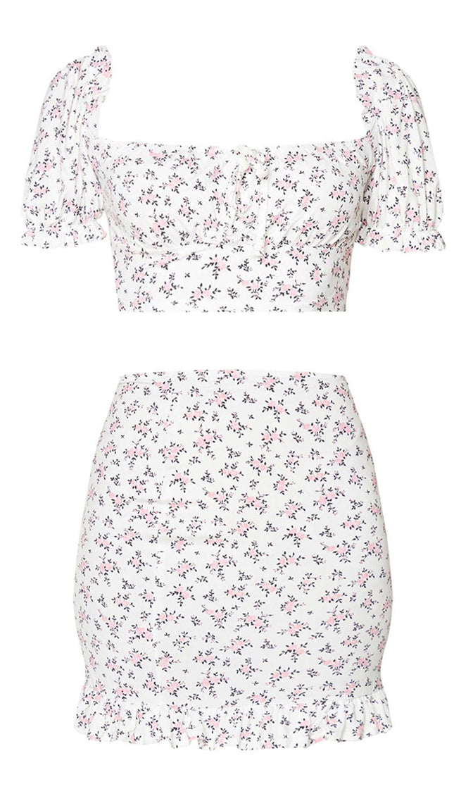 Anything But Here Floral Pattern Puff Cap Sleeve Square Neck Crop Top Ruffle Bodycon Casual Two Piece Mini Dress - 2 Colors Available