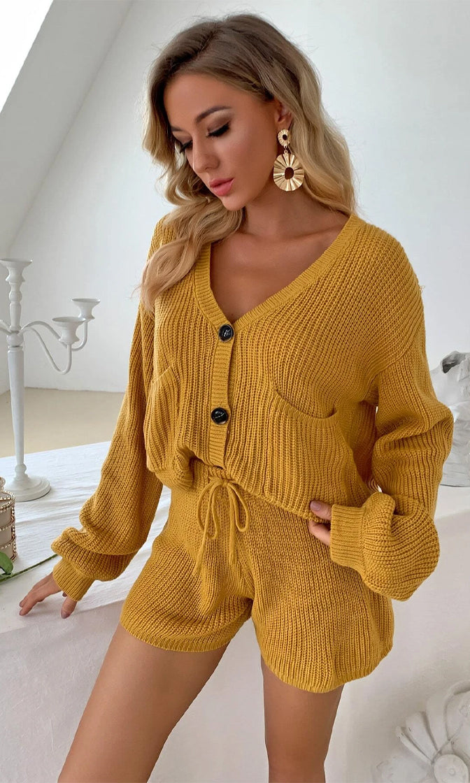 Lounge Around Long Puff Sleeve V Neck Sweater Cardigan Drawstring Short Two Piece Romper Loungewear Set