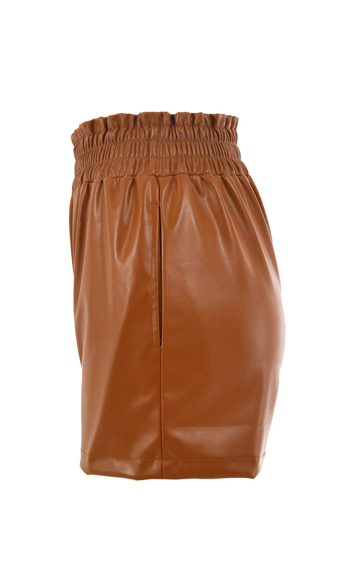 Urban Queen PU Faux Leather Elastic Waist Pull On Shorts