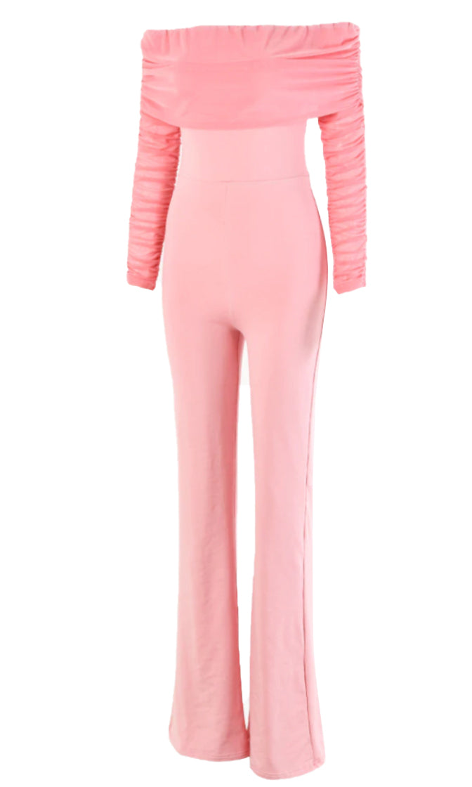 Moment To Cherish Long Sleeve Off The Shoulder Ruched Flare Leg Jumpsuit - 3 Colors Available