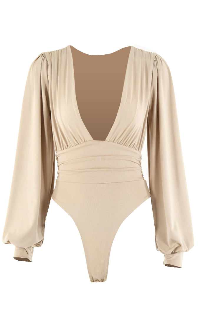 No Harm Done Long Puff Sleeve Plunge V Neck Bodysuit Top