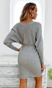 City Breeze Grey Long Sleeve Cut Out Shoulders Scoop Neck Tie Belt Mini Dress