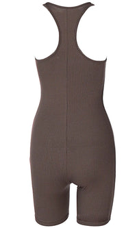 Hit The Ground Running Ribbed Sleeveless Scoop Neck Racerback Bodycon Romper Playsuit