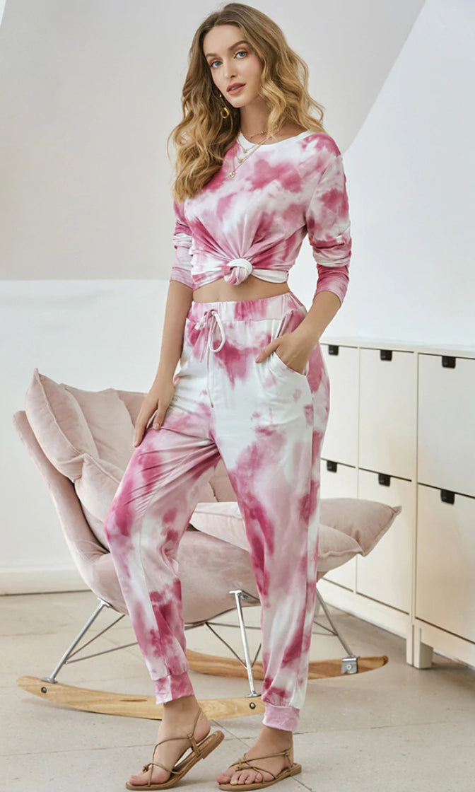 Dressed To Chill Pink Tie Dye Pattern Long Sleeve Round Neck Tee Shirt Drawstring Jogger Pant Two Piece Jumpsuit Loungewear Set