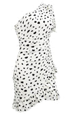 Only For You White Black Leopard Dot Pattern Asymmetric One Shoulder Puff Short Sleeve Ruched Ruffle Bodycon Mini Dress