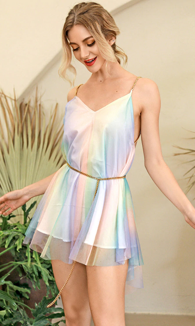 Birthday Wishes Pastel Multicolor Mesh Sleeveless Chain Strap V Neck Backless Flare A Line Mini Dress