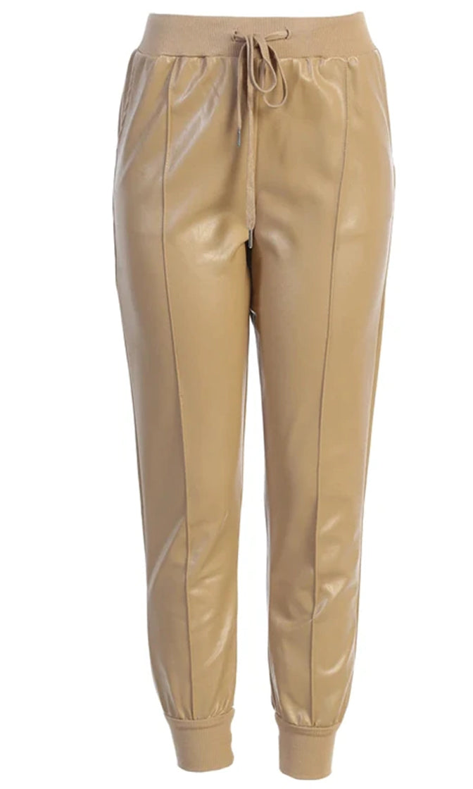 Driving On PU Faux Leather Drawstring Waist Skinny Jogger Pant