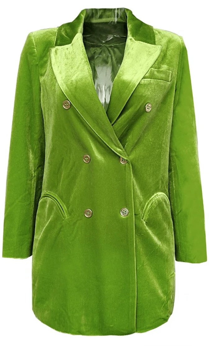 Fire And Desire Green Velvet Long Sleeve Double Breasted Button Blazer Jacket Outerwear