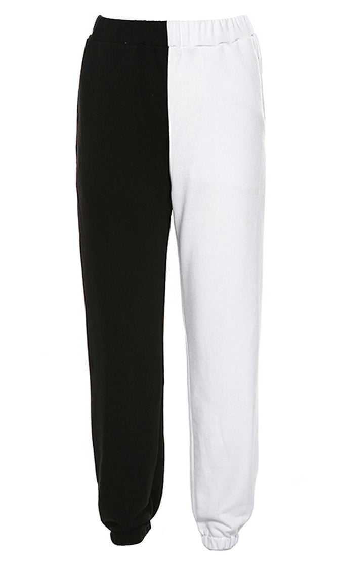 Splitting Up Black White Elastic Waist Jogger Sweatpant