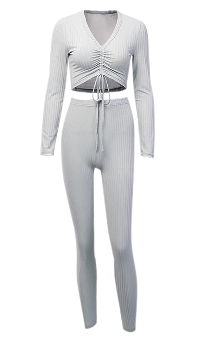 Working Things Out Grey Ribbed Long Sleeve V Neck Ruched Crop High Waist Legging Two Piece Jumpsuit Set