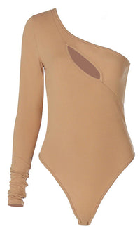Slice Of The Pie One Shoulder Long Sleeve Cut Out Slash Bodysuit Top