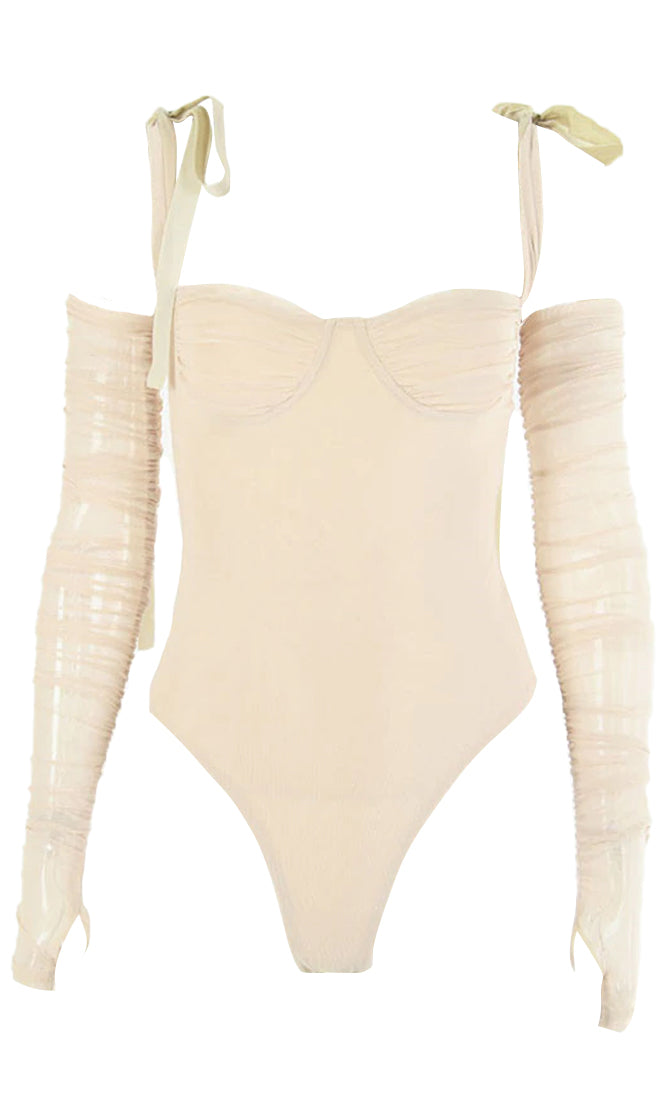 Move Fast Sheer Mesh Detachable Long Sleeve Bow Strap Sweetheart Neckline Ruched Bodysuit Top - 2 Colors Available