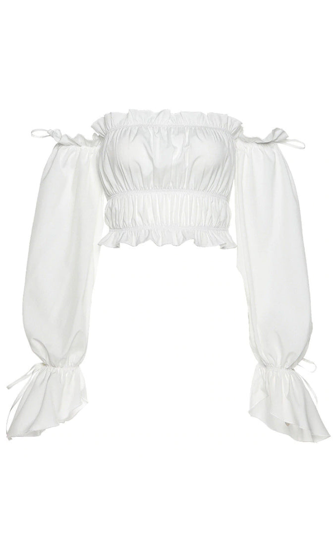 Pretty Peasant White Long Puff Sleeve Ruffled Off The Shoulder Crop Top Blouse