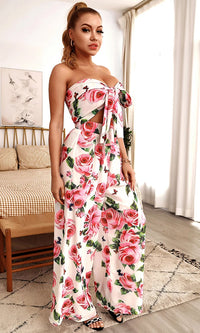 LA Spotlight White Pink Floral Pattern Strapless Tie Bust Cut Out Waist Crop Top Loose Wide Leg Pant Two Piece Jumpsuit Set
