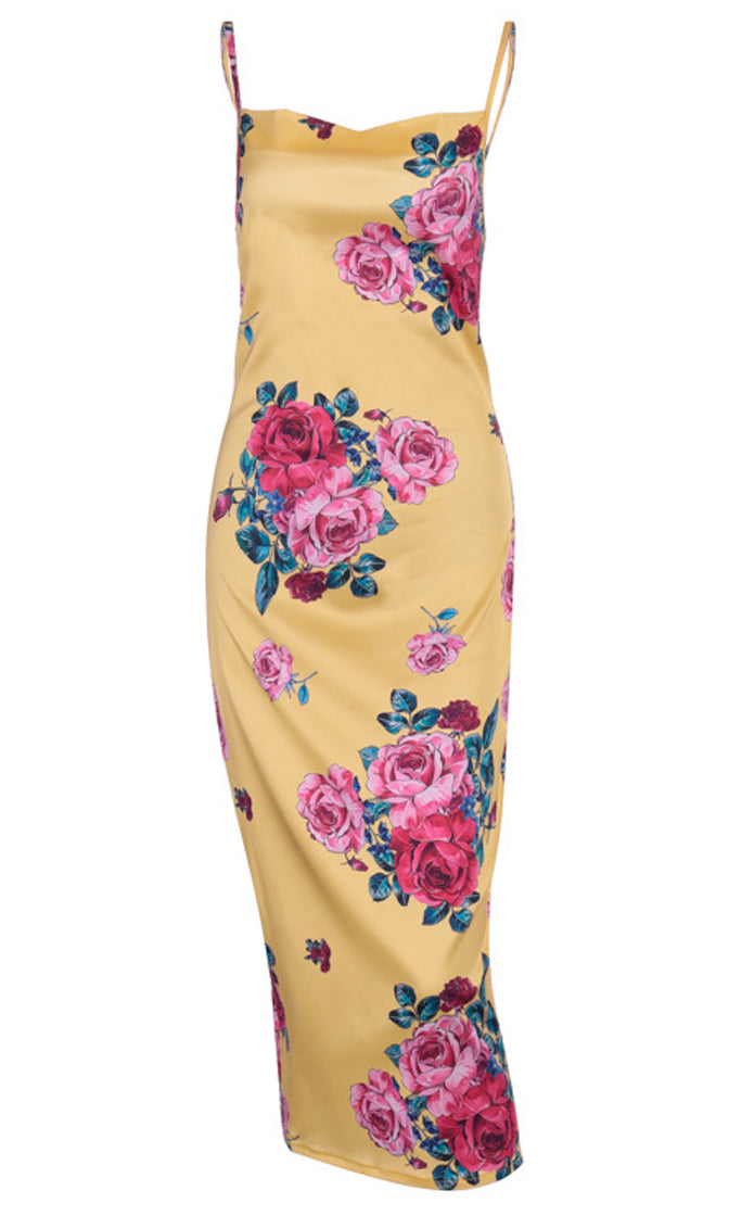 Garden Nymph Yellow Pink Floral Pattern Sleeveless Spaghetti Strap Drape Neckline Backless Midi Dress