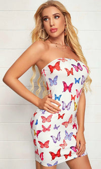 Daytime Distraction White Multicolor Butterfly Pattern Strapless Ruched Bodycon Casual Mini Dress