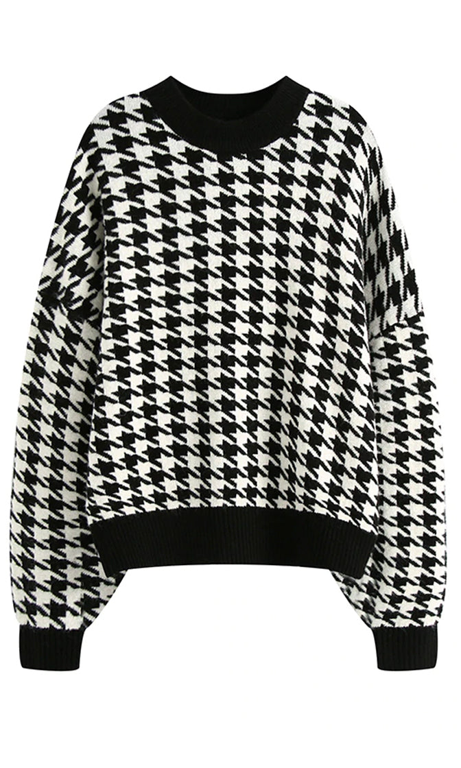 Cool And Collected Houndstooth Geometric Pattern Long Lantern Sleeve Round Neck Pullover Sweater