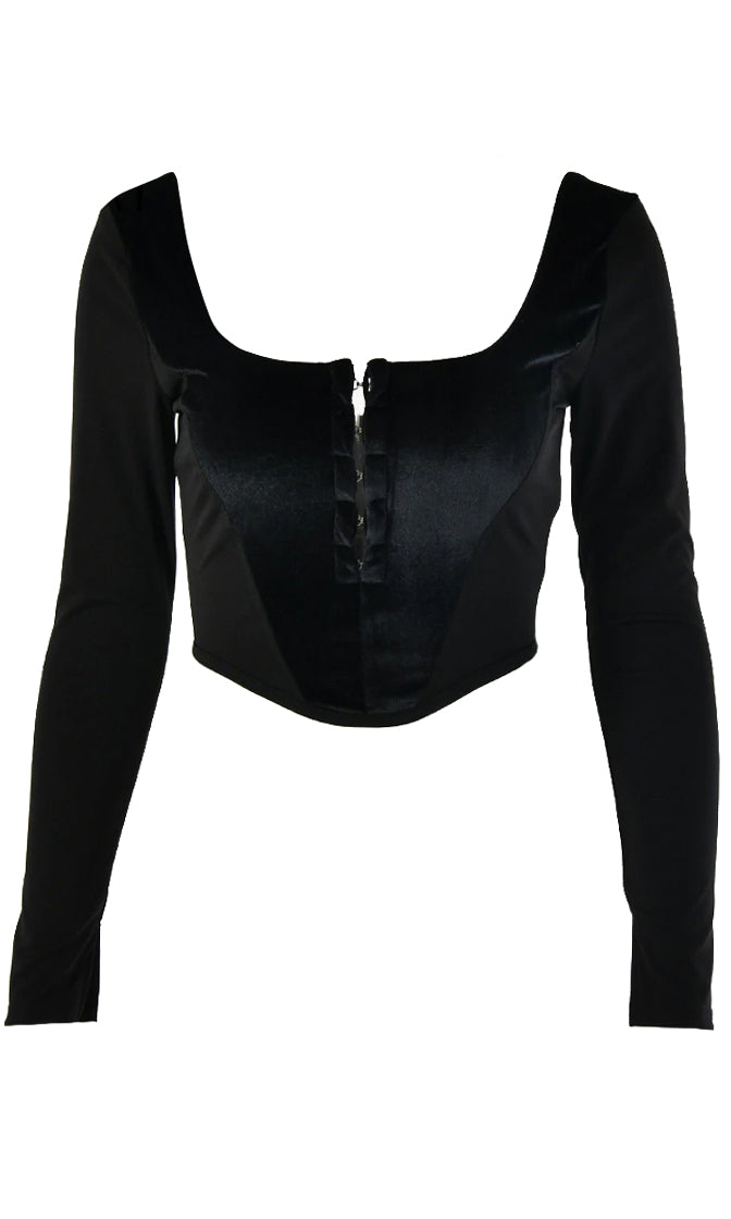 Not Giving Up Black Long Sleeve Wide Scoop Neck Hook And Eye Crop Top