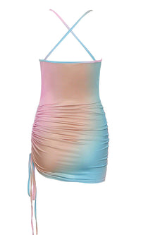 Stare At Me Pink Blue Multicolor Sleeveless Spaghetti Strap Drape V Neck Side Ruched Bodycon Mini Dress - Sold Out
